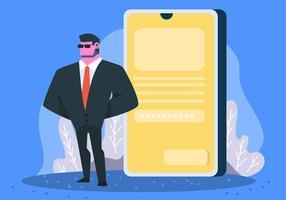 Cyber Security och telefon vektor