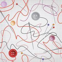 Nål, tråd sömlöst mönster. Sy sömlösa bakgrund. vektor