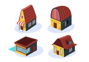 Isometrisk hus med brunt tak vektor