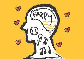 Psychische Gesundheit im gelben Hintergrund vektor