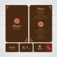 Thailändisches Lebensmittel- und Fusionslebensmittelrestaurantmenü, Geschenkgutschein und Namenskartendesignschablonendekoration für den Druck von Vektorillustration