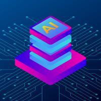 3D-isometrisk illustration av processorchip AI