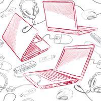 Laptop sömlöst mönster Datoranslutning bakgrund.