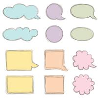 Sprechblase gesetzt. Chat-Symbol. Blatt Papier für Notenrahmenelemente vektor