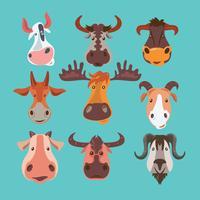 Set av Horned Wild and Herd Animal