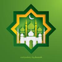 Papiergrafik der islamischen Moschee vektor