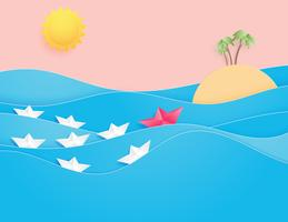 Ozeanwasserwelle mit Origami ließ das Segelboot schwimmen, das auf die See- und Sonnenpapierschnittart schwimmt.