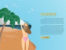 Sommarbakgrund med bakifrån av bikini ung tjej vid tropisk strand och palmpapper klippt stil. vektor