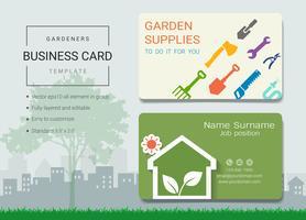Trädgårdsmästare företagsnamn kortdesign mall.