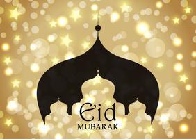 Eid Mubarak bakgrund med moské silhuett på guld stjärnor och bokeh lampor