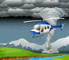 Helikopter som flyger i dåligt väder