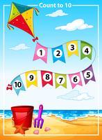 Räkning nummer sommar strand mall