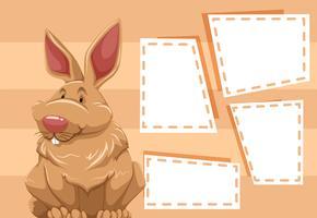 Ein Kaninchen auf einem leeren Zettel