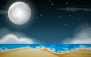 En natt strand scen vektor