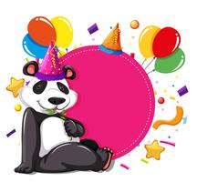 Party panda på rosa kort