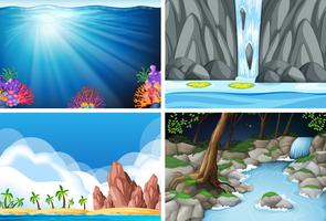 fyra olika naturbilder vektor