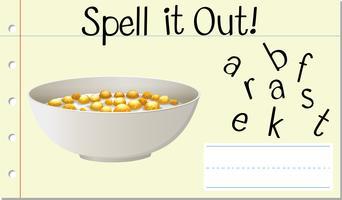 Englisches Wortfrühstück buchstabieren vektor