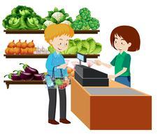 Ein Mann im Supermarkt vektor