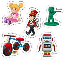 Klistermärke design för olika leksaker