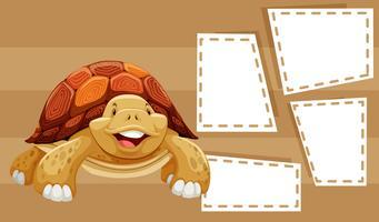 Eine Schildkröte auf leere Notiz vektor