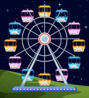 Ferriswheel spinning en natt vektor