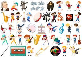 Sats med musikaliska föremål och dansande