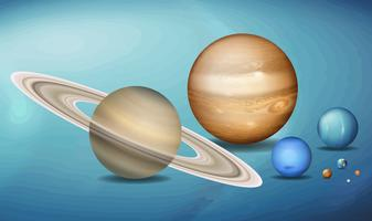Planeter i rymdscence vektor