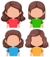 Set von verschiedenen gesichtslosen Mädchen vektor