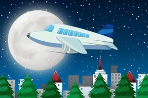 Flugzeug, das nachts über Himmel fliegt