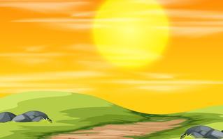 En natur solnedgång scen vektor