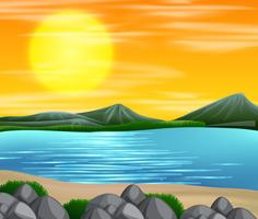 En vacker strand solnedgång scen vektor