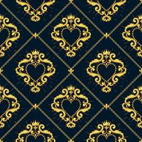 Nahtloses Damastmuster mit schönem dekorativem rotem Herzen mit Krone auf schwarzem Hintergrund. Vektor-illustration