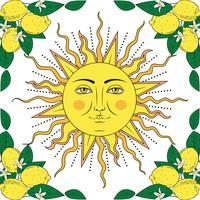 Tropisk citrusfrukter med citronfrukter med blommarram och sol med mänskligt ansikte. Sommar färgglada element. Vektor illustration.