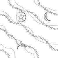 Nahtloser Musterhintergrund mit Pentagram- und Mondanhängern auf silberner metallischer Kette. Auf weiß. Vektor-illustration