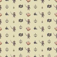 Söt pirat herre sömlöst mönster vektor