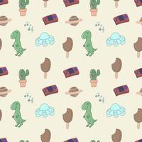 90: s tecknade sömlösa mönster