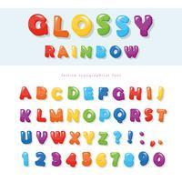 Glansig regnbågsfärgad typsnitt design. Festliga ABC bokstäver och siffror.