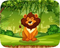 En lejon i skogen vektor