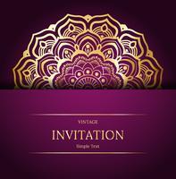 Eleganter Save The Date-Kartenentwurf. Vintage floral Einladungskarte Vorlage. Luxusstrudelmandalagrußkarte, Gold, purpurrot vektor
