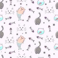 Fantasi katt sömlöst mönster