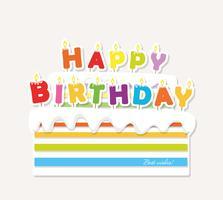 Geburtstagstorte mit Kerzen. Papier Ausschnitt Aufkleber.