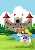 Prinz und Prinzen reiten Pferd vektor