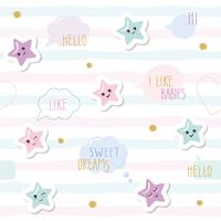 Söt sömlöst mönster bakgrund med tecknad kawaii stjärnor och talbubblor. För små tjejer spädbarn kläder, pyjamas, baby shower design. Pastell rosa, blå och glitter.