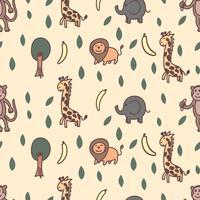 Nahtloses Muster der Giraffe, des Löwes, des Elefanten und des Affen