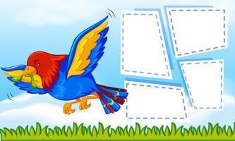 Papagei auf Notizvorlage vektor