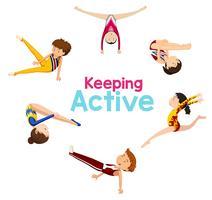 Aktives Logo mit Gymnastikathleten vektor
