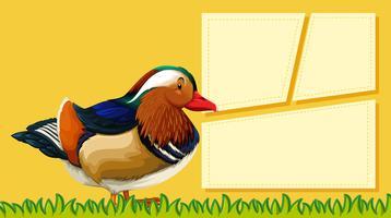 Eine Ente auf leere Notiz vektor