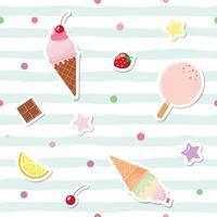 Festliches nahtloses Muster mit netten Aufklebern auf gestreiftem Hintergrund. Für Geburtstags- und Einklebebuchdesign. vektor