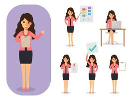 Sats av affärskvinna på jobbet. vektor