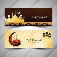 Abstrakte dekorative Fahnen Eid Mubaraks eingestellt